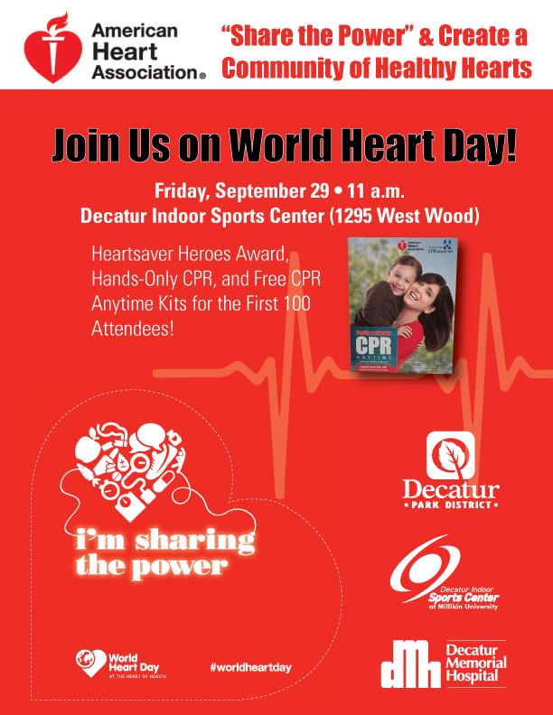 On World Heart Day, the American Heart Association, Decatur Indoor Sports  Center (DISC), and Decatur Memorial Hospital will u201cShare the Poweru201d to  inspire PlusPng.com  - American Heartsaver Day PNG