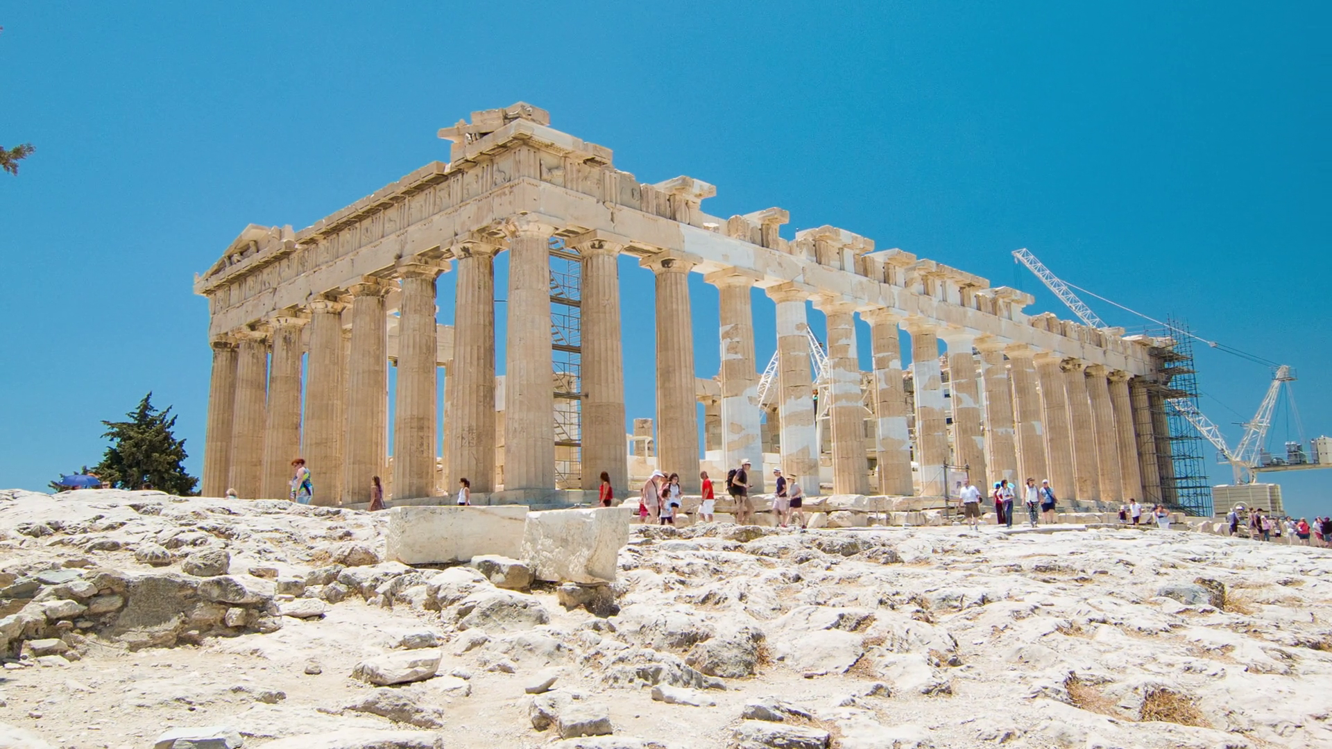 The Parthenon at the Acropolis in Athens Greece Side Angle View with  Visitors Sightseeing the Iconic Ancient Greek Hilltop Temple Monument Stock  Video PlusPng.com  - Ancient Greece PNG HD