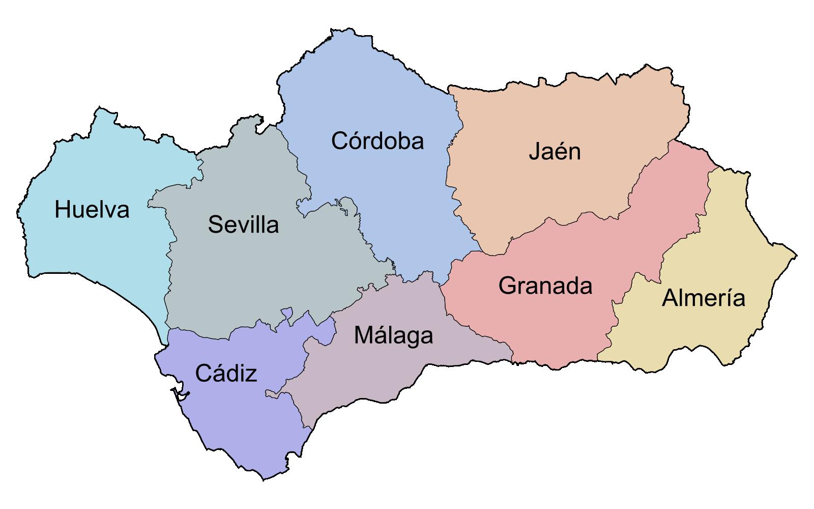 File:Andalucía por provincias.png - Andalucia PNG