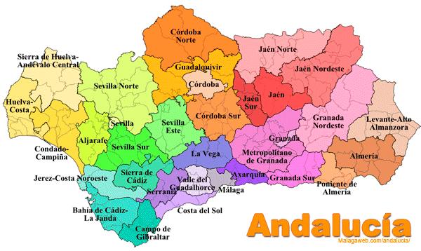 Mapa de Andalucia a color - Andalucia PNG