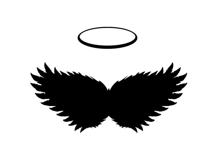 Black angel Wings and Halo Vector, PNG and JPGs included - Logo Angel  Souvenirs PNG - Angel Souvenirs Logo PNG