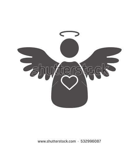 Christmas angel icon. Silhouette symbol. Negative space. Vector isolated  illustration - Angel Souvenirs Vector PNG