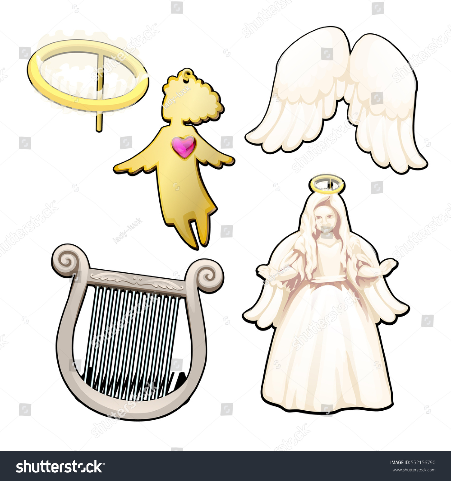 Set on the theme of religious Souvenirs. Angels, Golden halo and angels  wings isolated - Angel Souvenirs Vector PNG