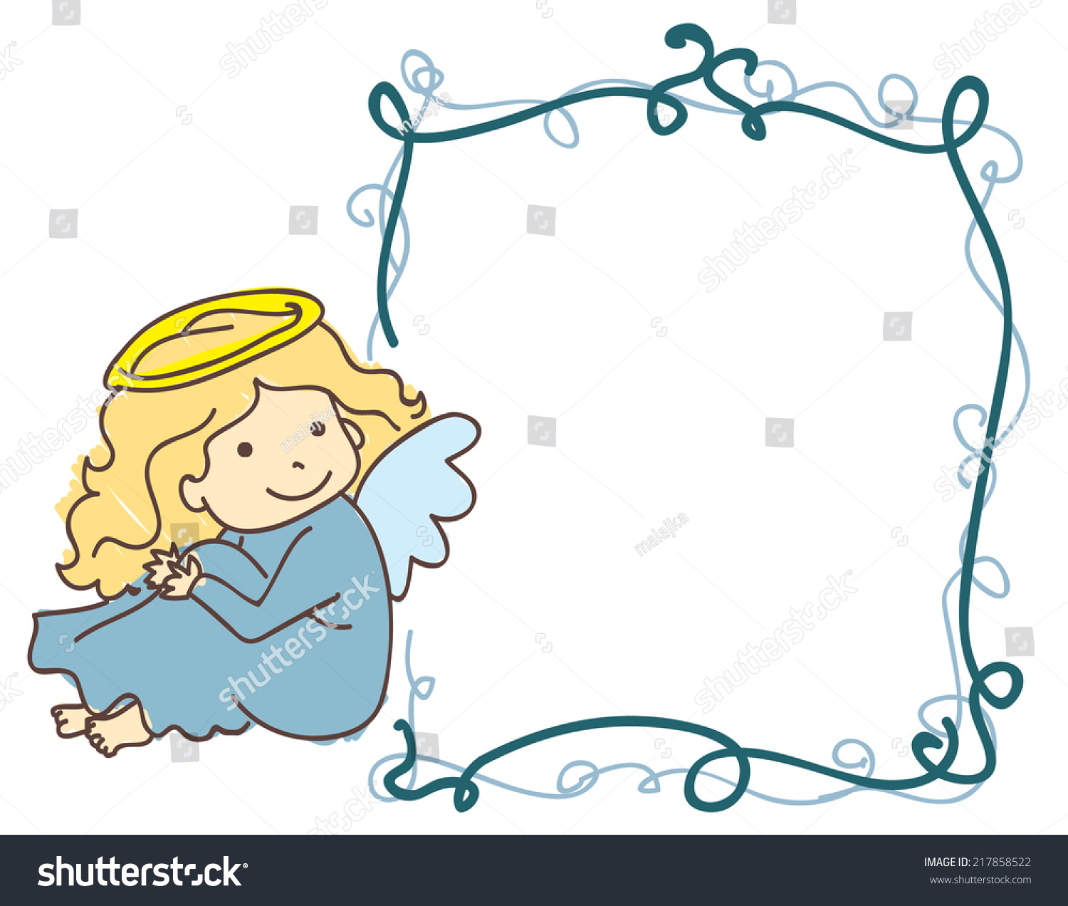 Vector picture frame border with angel. Perfect as a baptism invitation or  frame for baby - Angel Souvenirs Vector PNG