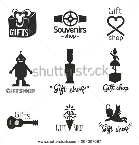 Vector set with toys, gifts and souvenirs icons. Perfect labels, logos and  badges - Angel Souvenirs Vector PNG