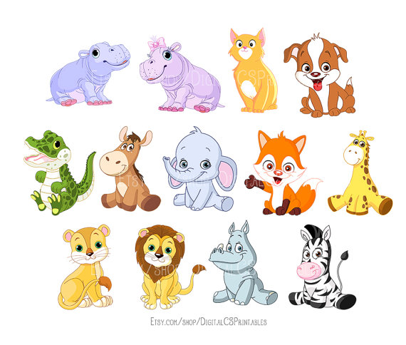 Cute Animal clipart Kids clipart Cute clipart Safari Animal clipart animal  png Wild animals kids clip art Cute clip art