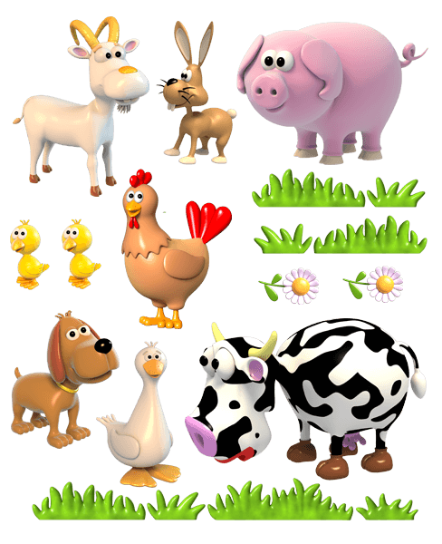 Stickers for Kids: Farm animals - Animal PNG HD For Kids