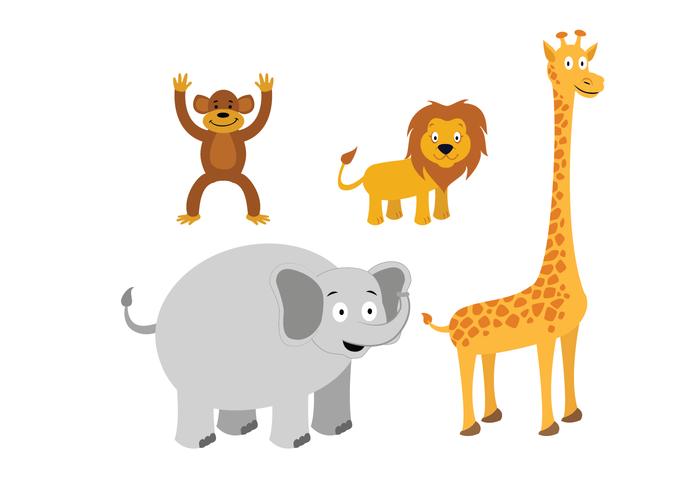 Animal Vectors: Lion, Monkey, Giraffe, Elephant - Animal Vector PNG