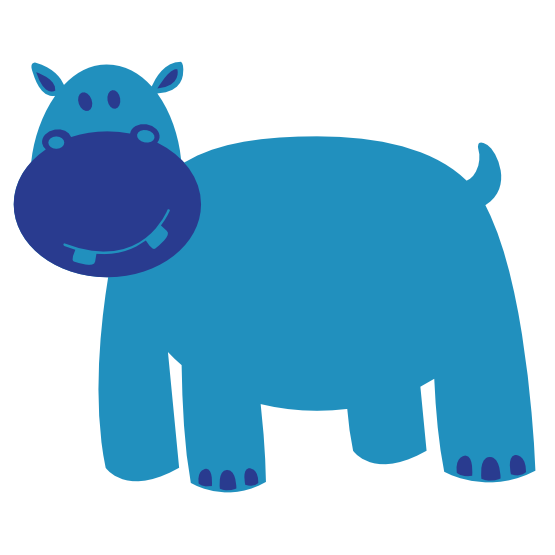 Colorful Animal Hippo Geometry 555px.png - Animal Vector PNG