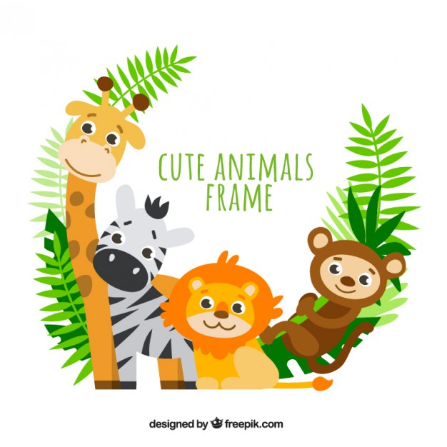 Lovely Animals With Palm Leaves Frame - Animal Vector PNG