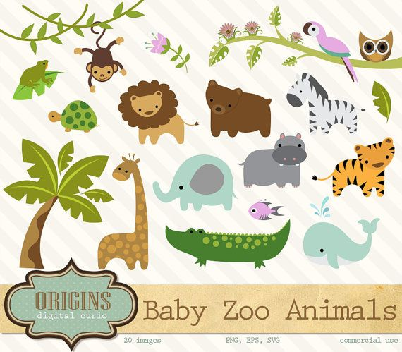 Baby Zoo Animals Clipart - PNG and Vector Clip art Set - Jungle Forest  Animals Clipart, African Animals, cute baby animal embellishments - Animals At The Zoo PNG