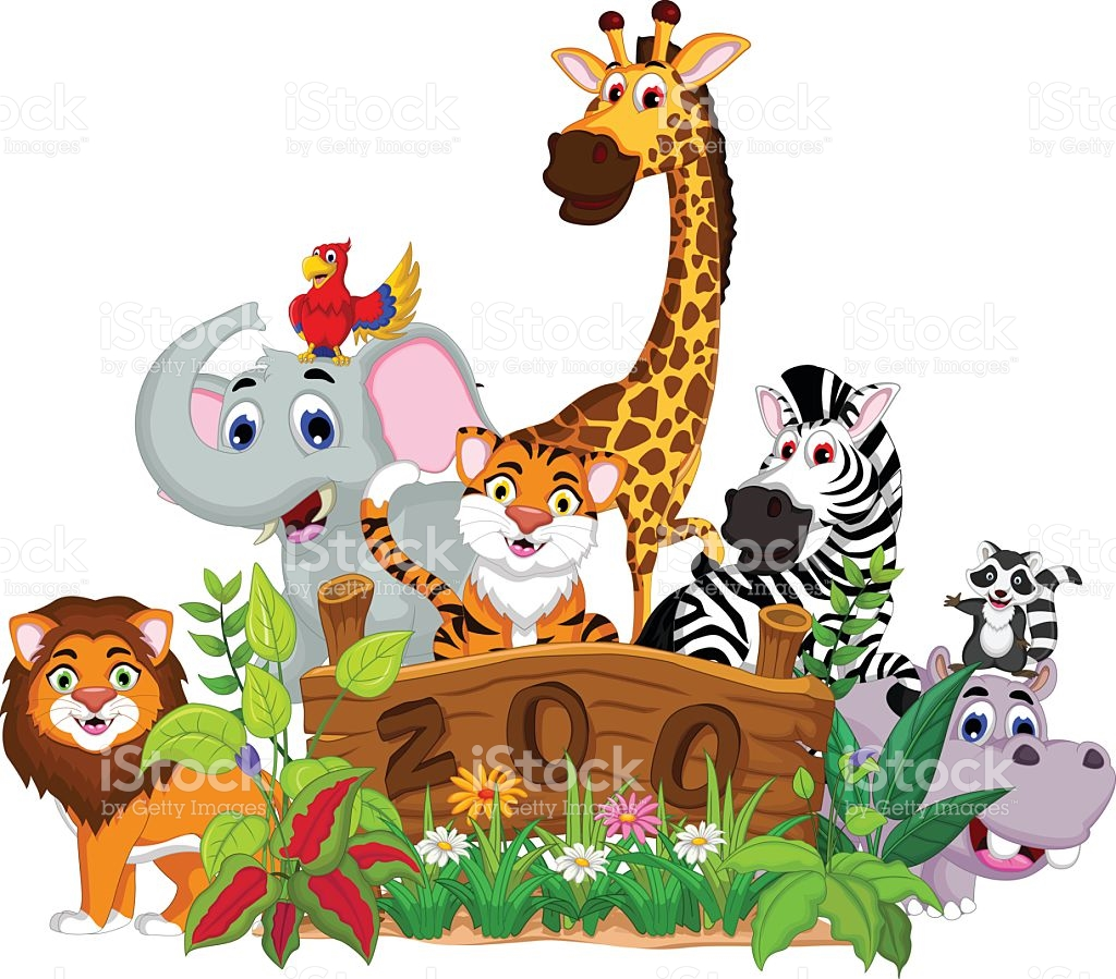 funny animal cartoon collection with zoo royalty-free funny animal cartoon  collection with zoo stock - Animals At The Zoo PNG