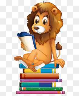Hand drawn cute cartoon lion sitting on books reading, Cartoon Animals,  Painted Lion, - Animals Reading PNG HD