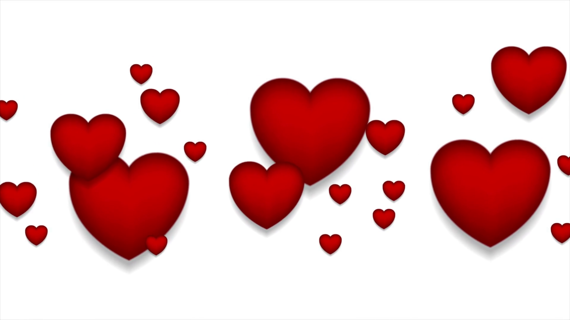 Red Hearts On White Background Motion Graphic Design St Valentines Day Video Animation Clip Ultra