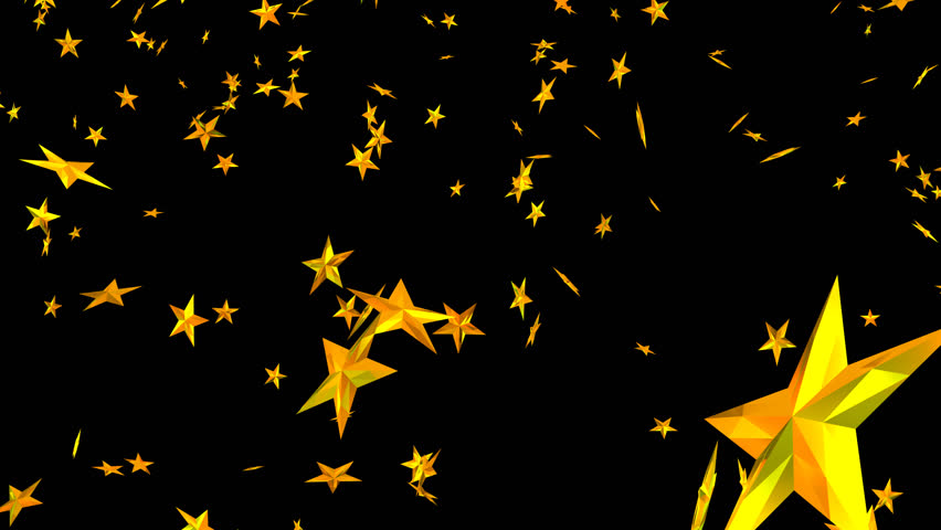 Animated falling and spinning golden stars against transparent background 2  (alpha channel embedded with HD - Animation HD PNG