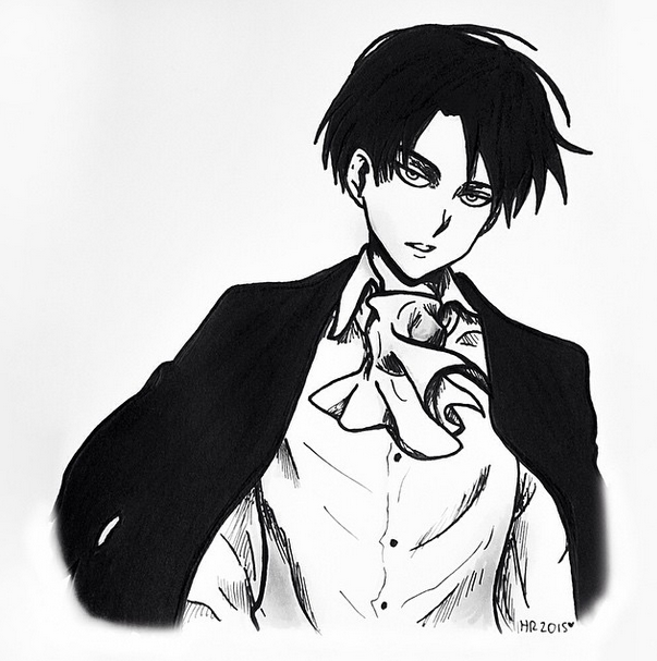 Levi Ackerman - Blacku0027nu0027White by icandrawiswear PlusPng.com  - Anime PNG Black And White