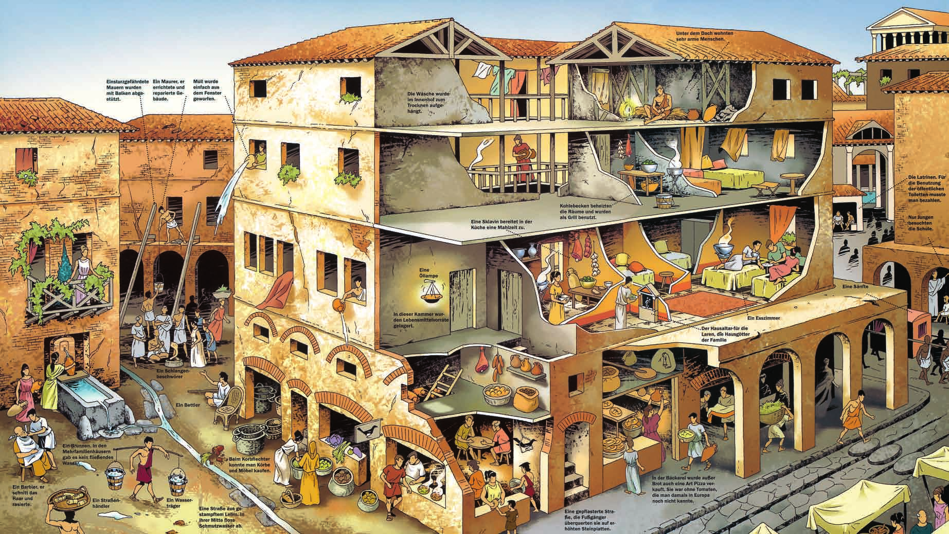 Fertigt mithilfe des Bildes dieser Doppelseite eine spannende Reportage  über das Leben in einem Mietshaus im