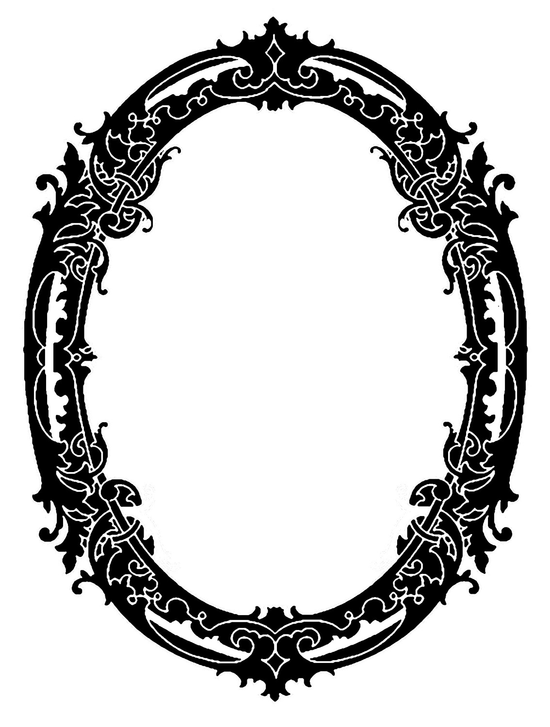I adore this Vintage Oval frame!!! This one came from some Antique Sheet  Music and I tweaked it a bit to create the Silhouette version that you see  here. - Antique Oval Frame PNG