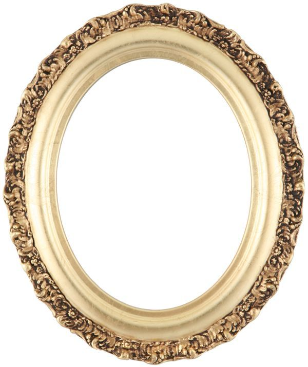 Mia Gold Leaf Oval Picture Frame - Antique Oval Frame PNG