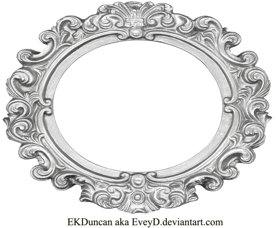Ornate Silver Frame - Wide Oval by EveyD PlusPng.com  - Antique Oval Frame PNG