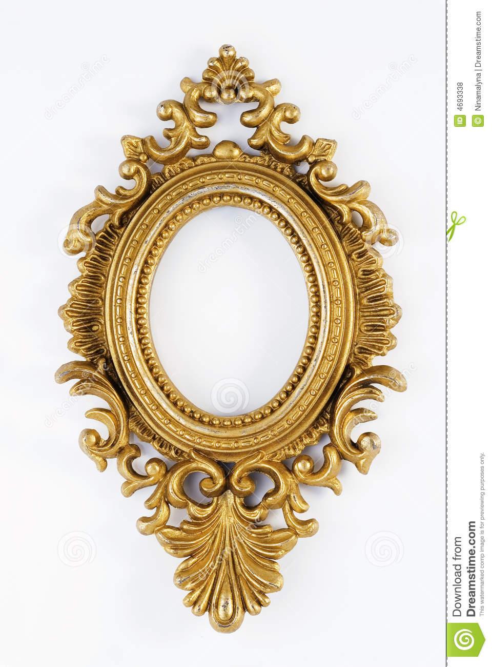Oval vintage gold ornate frame. Gallery, design. - Antique Oval Frame PNG
