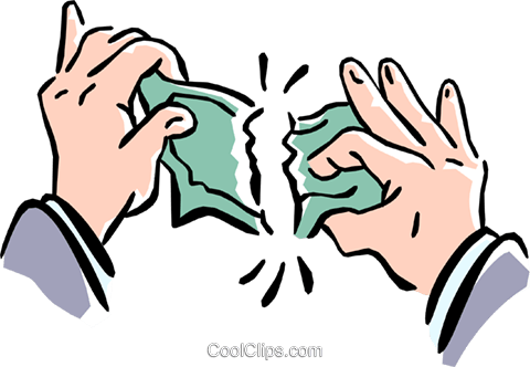 tearing money apart Royalty Free Vector Clip Art illustration hand0217 - Apart PNG