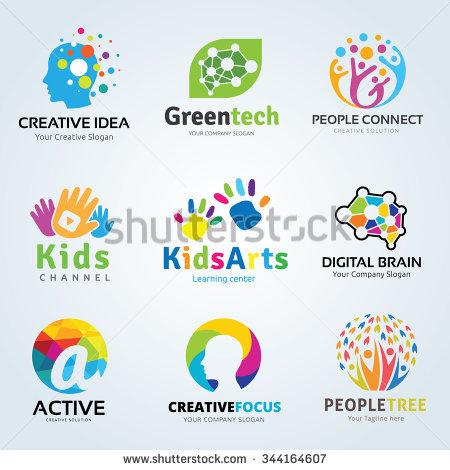 Logo set,logo collection,idea logo,kids logo collection,family logo, - Aplic Art Logo Vector PNG