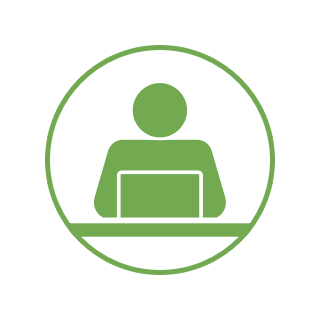 An icon of a person working at a computer. How to Apply - Apply PNG