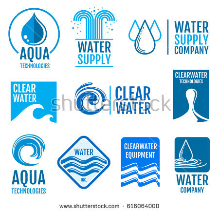 Fresh water vector logos and labels set with aqua symbols. Fresh drop clean  water logo - Aqua Cleaning Logo Vector PNG