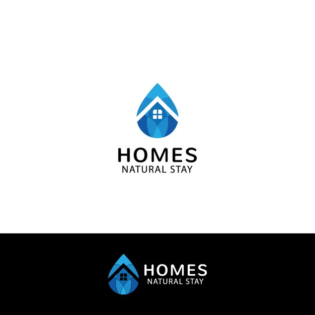 Real estate Logo in drop shape - Aqua Cleaning Logo Vector PNG