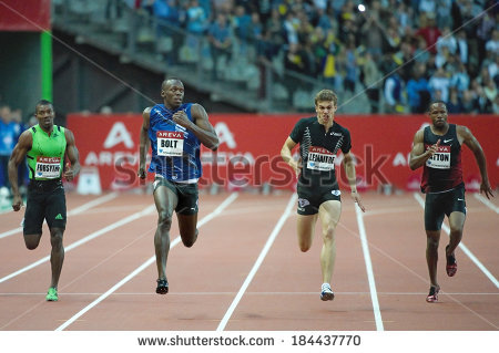 SAINT-DENIS, FRANCE - JULY 8, 2011 - Usain Bolt and Christophe Lemaitre - Areva Vector PNG