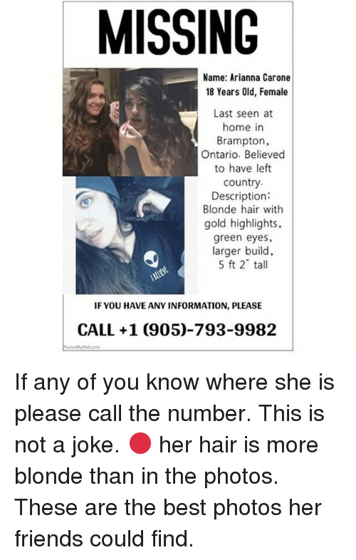 Friends, Best, and Hair: MISSING Name: Arianna Carone 18 Years Old, - Arianna Friends PNG