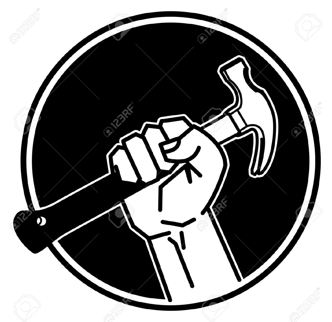 555 Hand Holding Hammer Stock Vector Illustration And Royalty Free. - Arm And Hammer Vector PNG