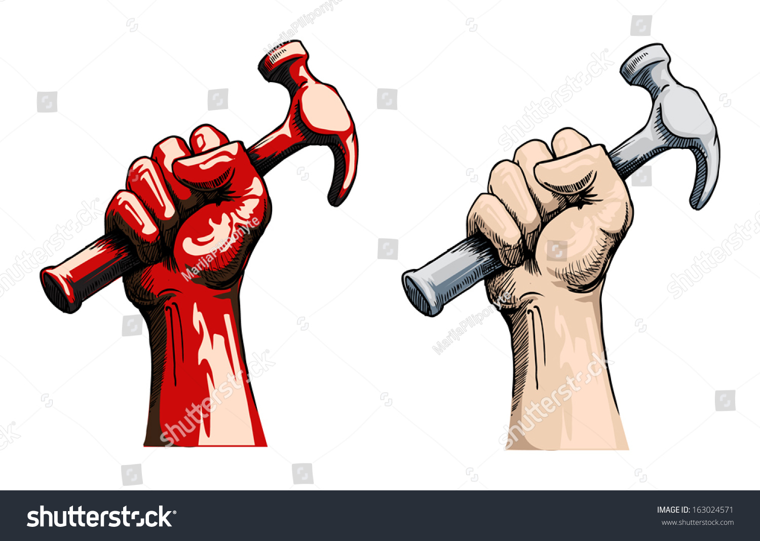 Fist holding a hammer, vector illustration - Arm And Hammer Vector PNG