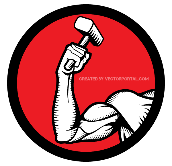 Hand with Hammer Vector Image - Arm And Hammer Vector PNG