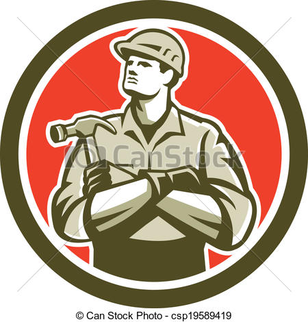 Vector clip art of builder carpenter arms crossed hammer circle - Arm And Hammer Vector PNG