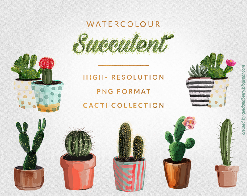 FREEBIES-FREE-Watercolor-succulent-cactus-clip-art -collection-Digital-watercolor-painting-wedding-Individual-Free-High-Res-PNG-files-goldandberry-blog-gold-  PlusPng.com  - Art Free PNG