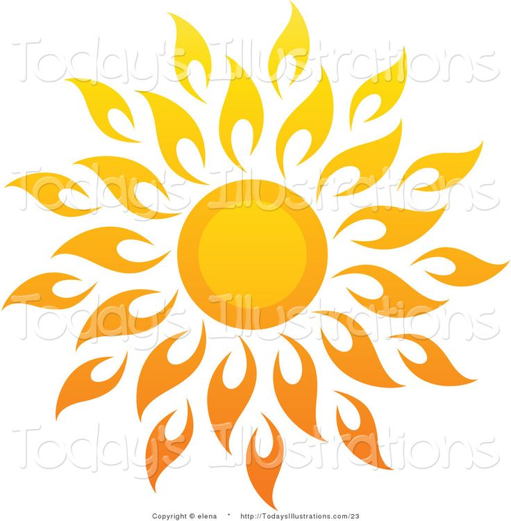 sun art | Vector Clipart of a Bright Summer Sun with Petal Rays 1 by elena - Art Of Sun Logo Vector PNG