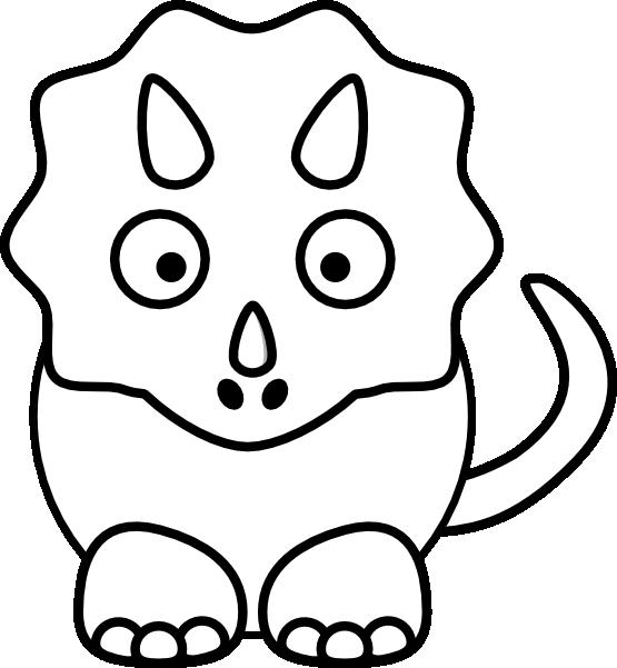 Porter Cartoon Triceratops Black White Line Animal Studiofibonacci Coloring Sheet Colouring Page 555px
