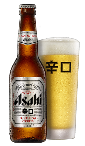 Asahi Hero bottle and glass - Asahi Breweries PNG