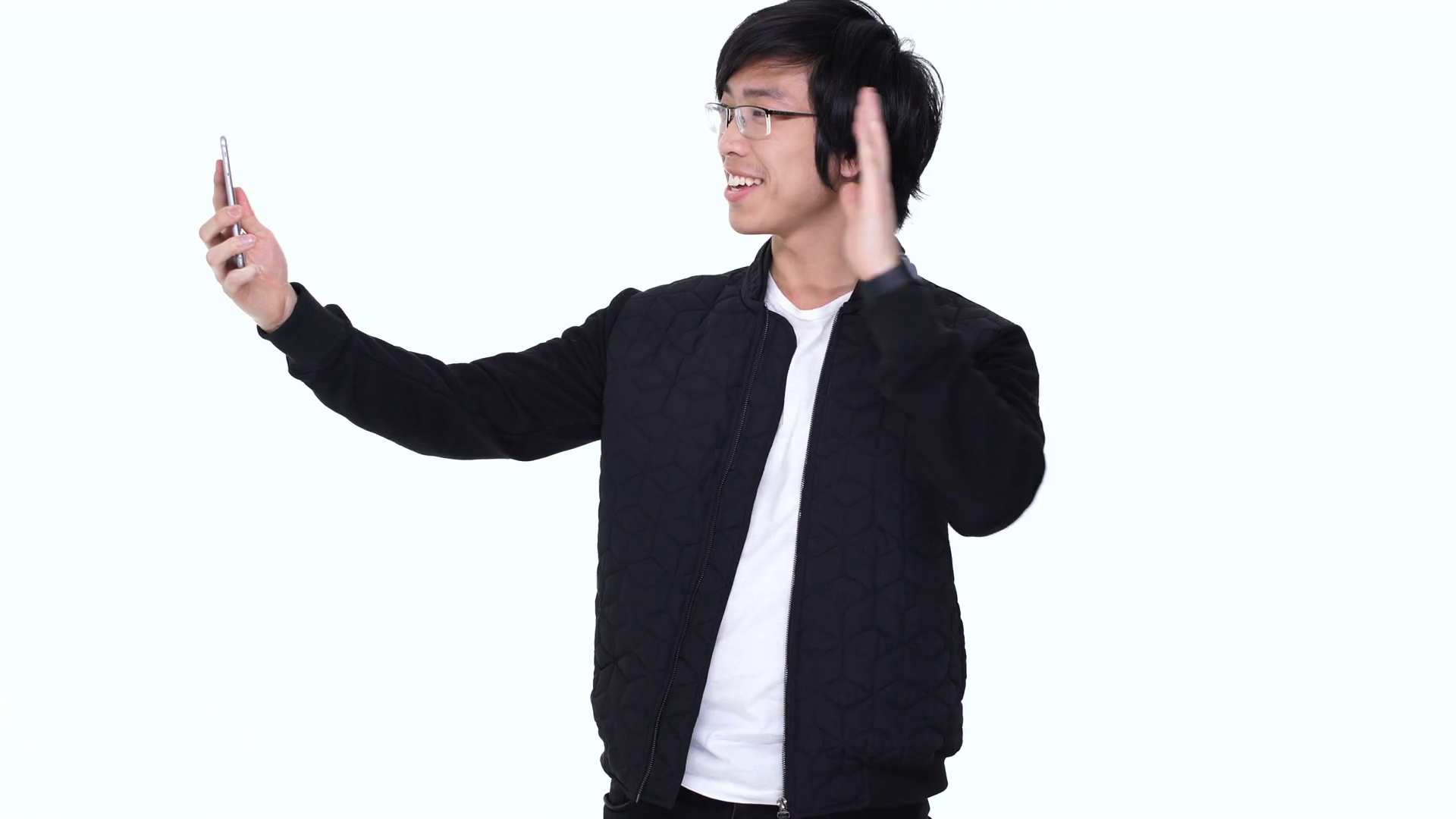 Smiling Happy Asian Man Waving Hand While Having Video Chat Call With His  Friend Via Smartphone Isolated Over White Stock Video Footage - VideoBlocks - Asian Guy PNG