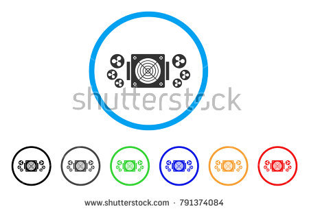 Ripple Mining Asic Device rounded icon. Style is a flat gray symbol inside  light blue - Asics 06 Vector PNG