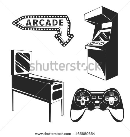 arcade room. video game set. retro arcade game machine. Gaming machine.  Computer - Atari Games Black Vector PNG