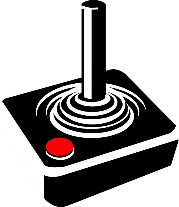 Joystick, Video Games, Control Stick, Atari - Atari Games Black Vector PNG