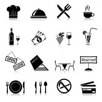 Black restaurant icons - Ate Vector PNG