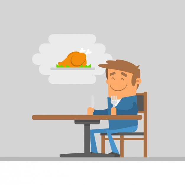 Illustration of man waiting the food - Ate Vector PNG