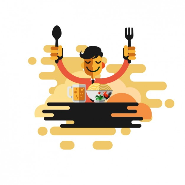Man eating pasta - Ate Vector PNG