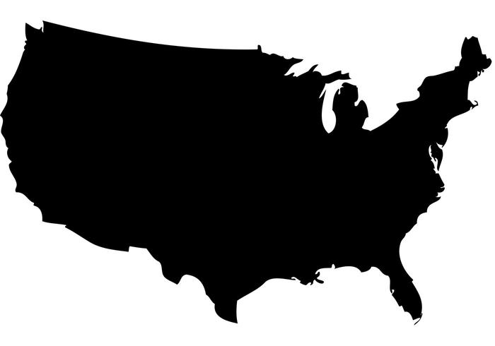 US Map Silhouette Vector - Atlas Vector PNG