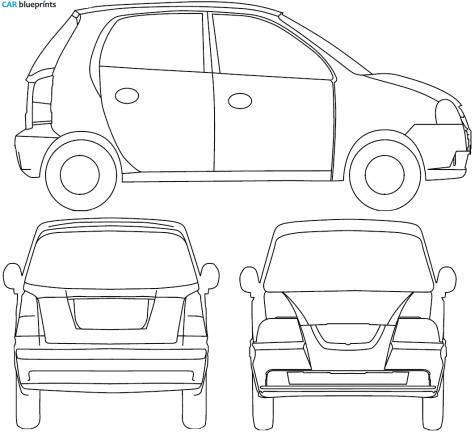 2008 Hyundai Atos Prime Hatchback blueprint - Atos Vector PNG