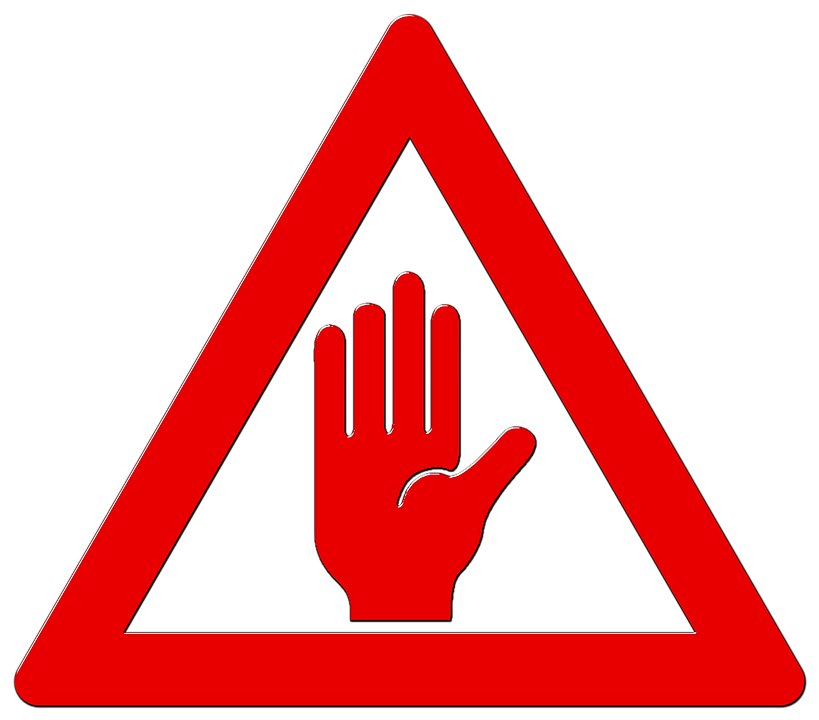 road sign attention shield hand far enough